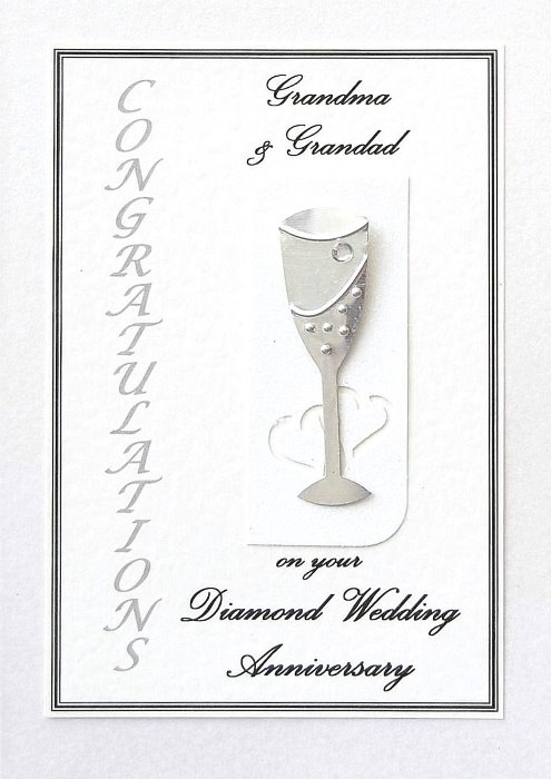 Diamond Wedding Anniversary Card - Flute Motif