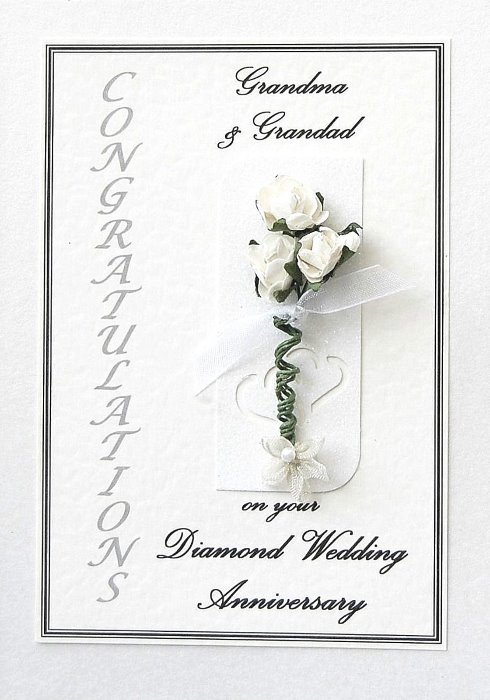 Diamond Wedding Anniversary Card - Rose Motif