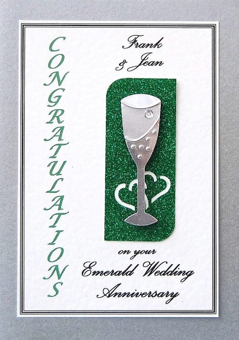Emerald Wedding Anniversary Card - Flute Motif