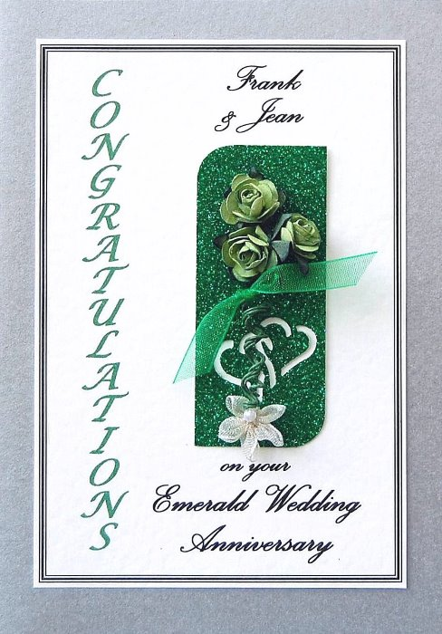Emerald Wedding Anniversary Card - Rose Motif