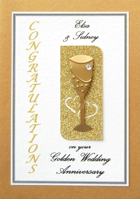 Golden Wedding Anniversary Card - Flute Motif