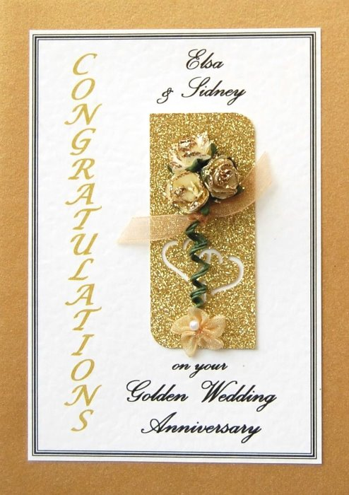 Golden Wedding Anniversary Card - Rose Motif