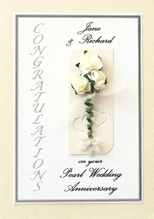 Personalised Pearl Wedding Anniversary Card - Rose Motif