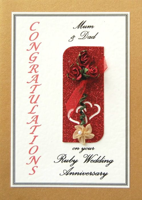 Ruby Wedding Anniversary Card - Rose Motif