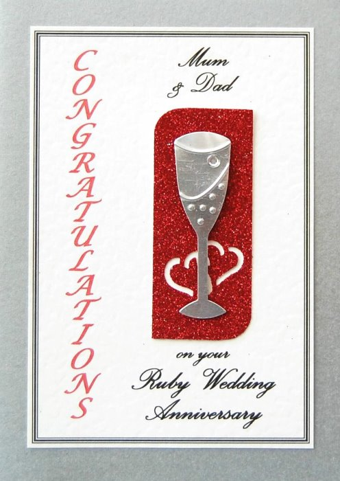 Ruby Wedding Anniversary Card - Flute Motif