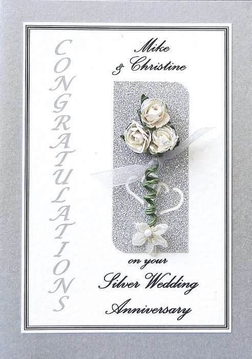 Silver Wedding Anniversary Card - Rose Motif