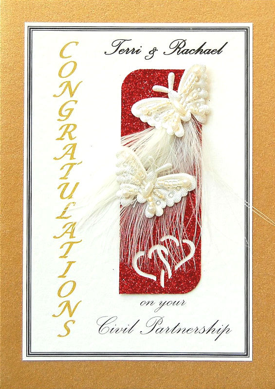 Personalised Gold & Red Butterflies Civil Partnership Card