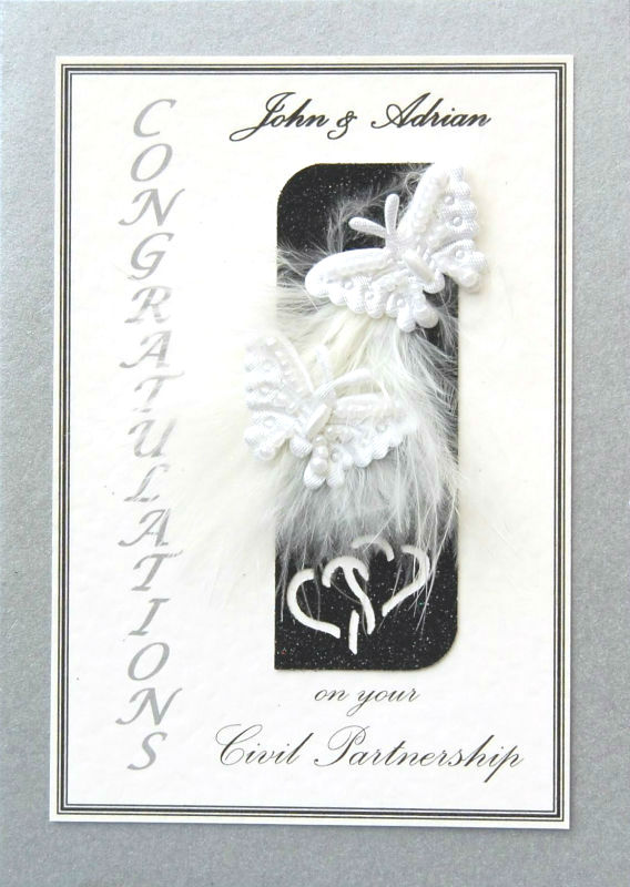Personalised Silver & Black Butterflies Civil Partnership Card