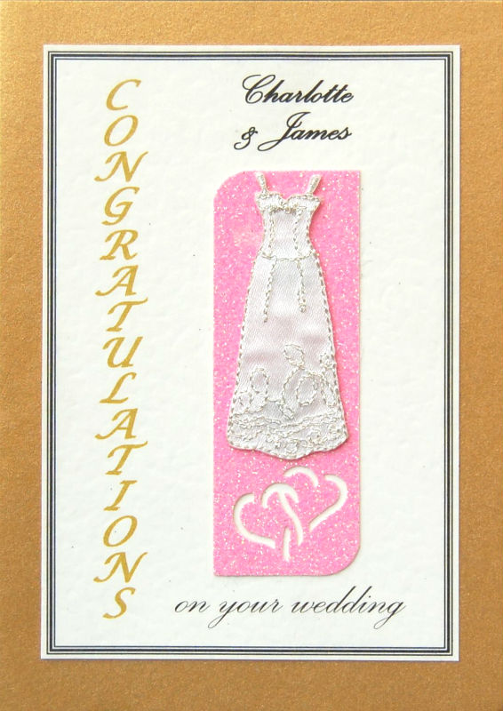 Personalised Gold & Neon Pink Wedding Gown Greetings Card