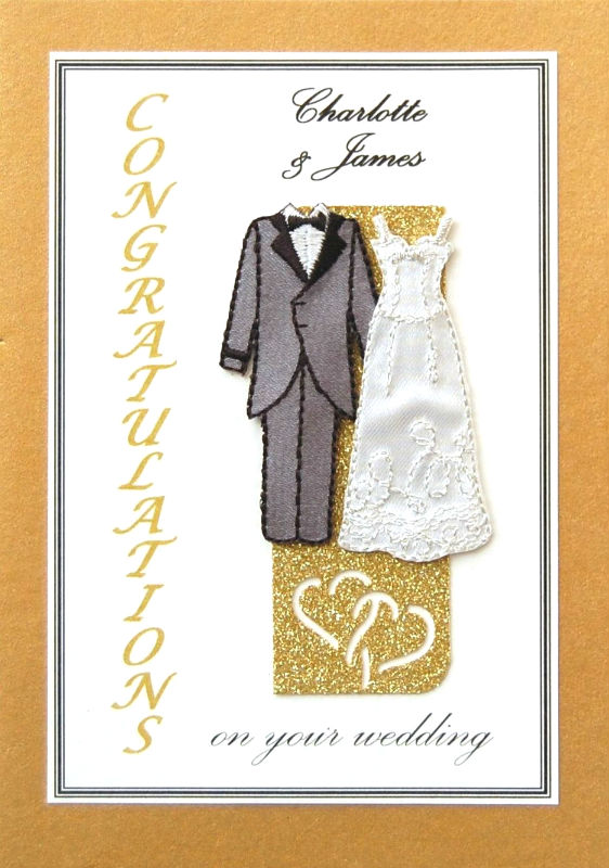 Personalised Gold & Gold Wedding Gown & Tuxedo Card
