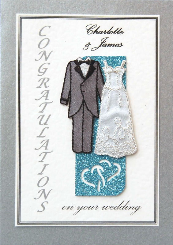 Personalised Silver & Blue Wedding Gown/Tails Wedding Card