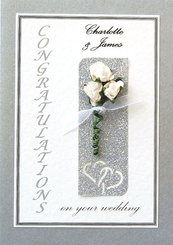 Personalised Silver & Cream Roses Wedding Celebration Card