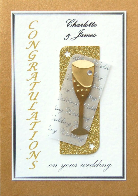 Personalised Gold & Gold Champagne Flute Wedding Card