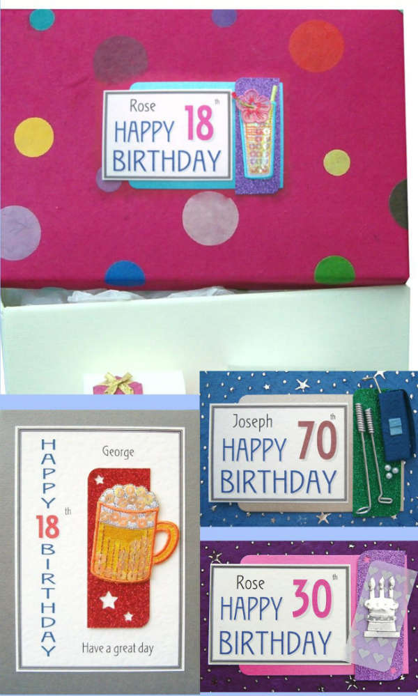 Personalised Birthday Keepsake Boxes, Chests and Cards