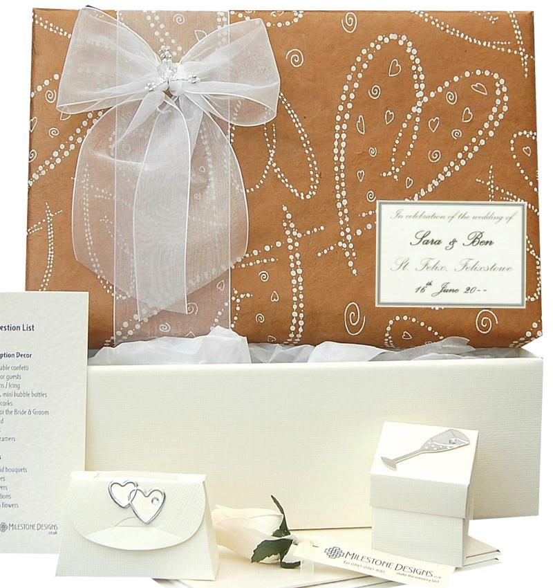 Standard Keepsake Box with Fudge Brown Dotty Hearts Lid and Organza Bow