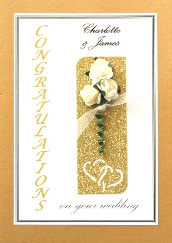 Personalised Gold & Cream Roses Wedding Celebration Card