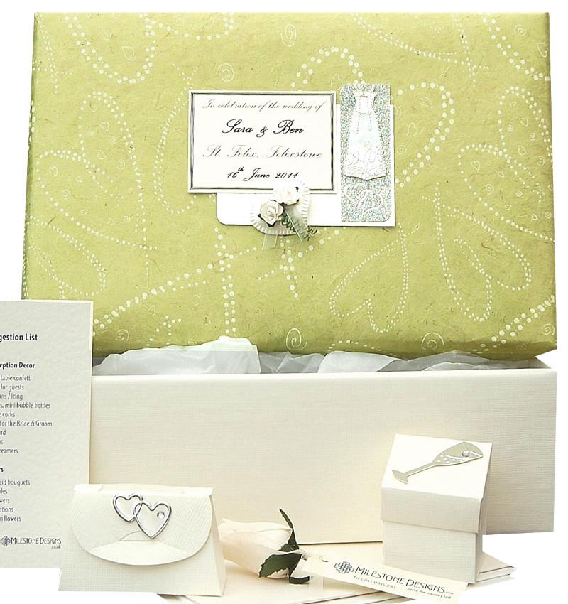 Standard Keepsake Box with Pear Dotty Hearts Lid and Gown Motif