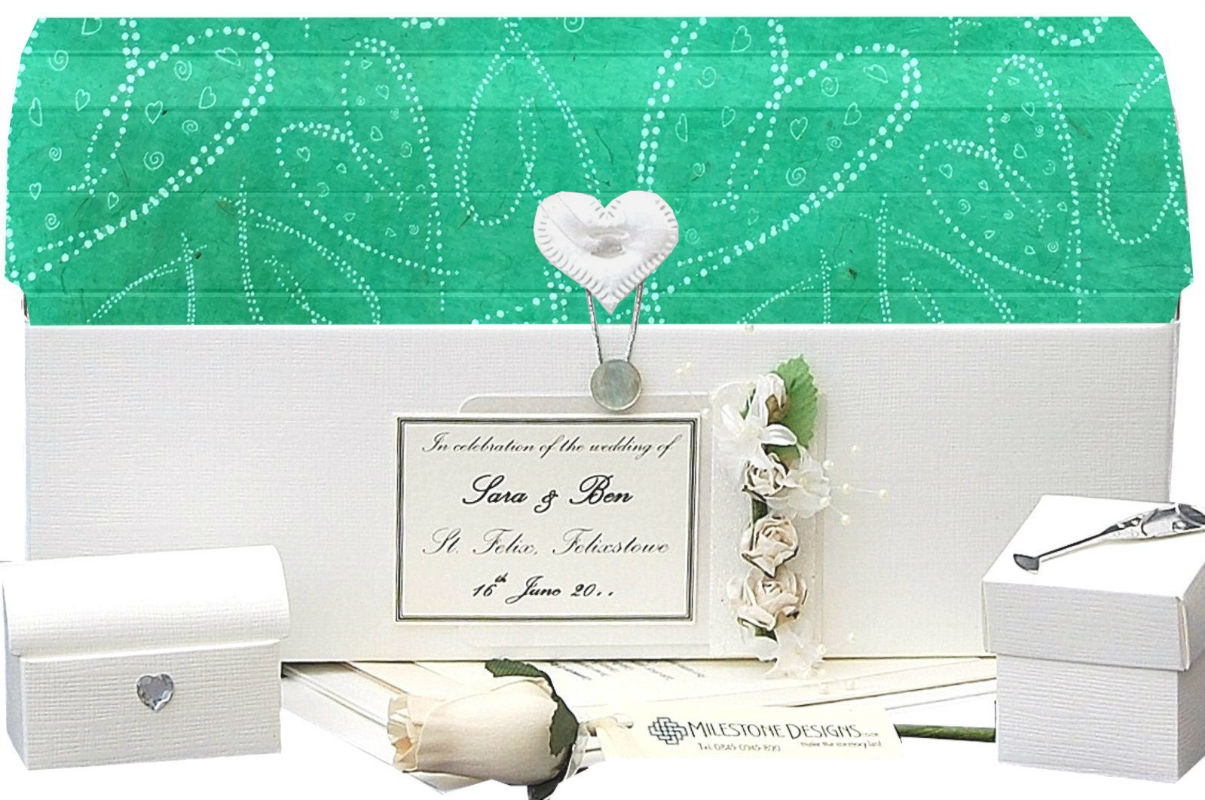 Standard Keepsake Chest with Spearmint Green Dotty Hearts Lid and Roses Motif